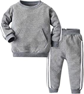 FEESHOW Kids Boys Girls Autumn Sport Suit Long Sleeve Tracksuit Sweatshirts Pullover Top Pants Trousers Set Grey 8