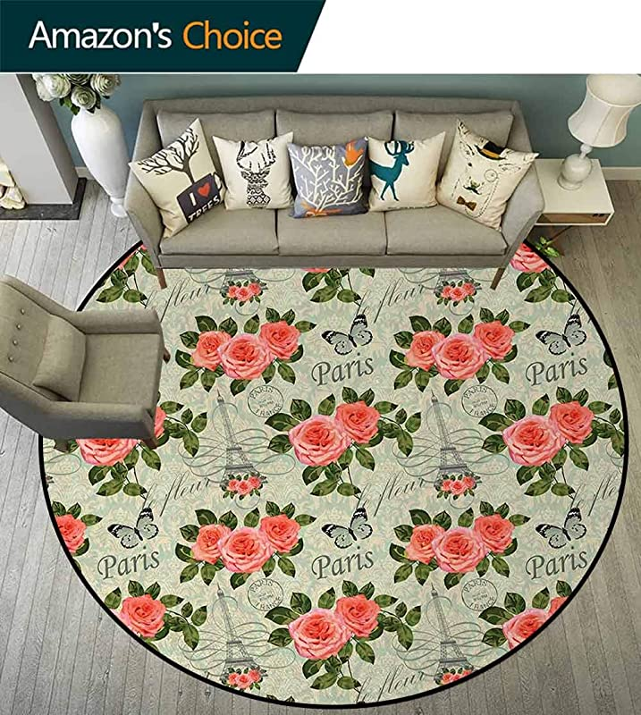 Shabby Chic Modern Washable Round Bath Mat Paris Lettering With Roses And Leaves Abstract Pale Blue Grey Backdrop Non Slip Bathroom Soft Floor Mat Home Decor Diameter 71 Inch Salmon And Green