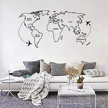 Mapa Del Mundo Etiqueta De La Pared Mapa Del Mundo Negro Avión Alrededor De Pegatinas De