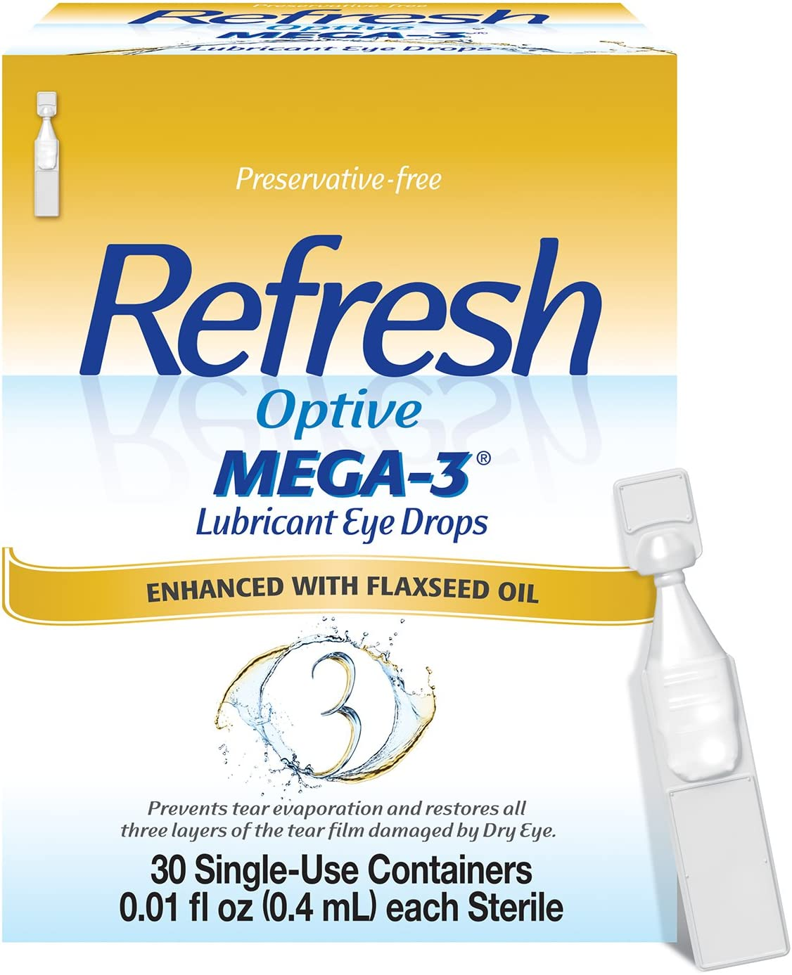 Refresh Optive Mega-3 Lubricant Eye Drops, Preservative-Free, 0.01 Fl Oz Single-Use Containers, 30 Count: Health & Personal Care
