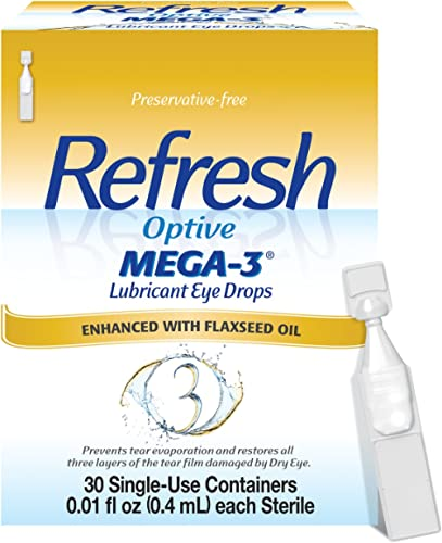 Refresh Optive Mega-3 Lubricant Eye Drops For Dry Eyes, Preservative-Free, 0.01 Fl Oz Single-Use Containers, 30 Count