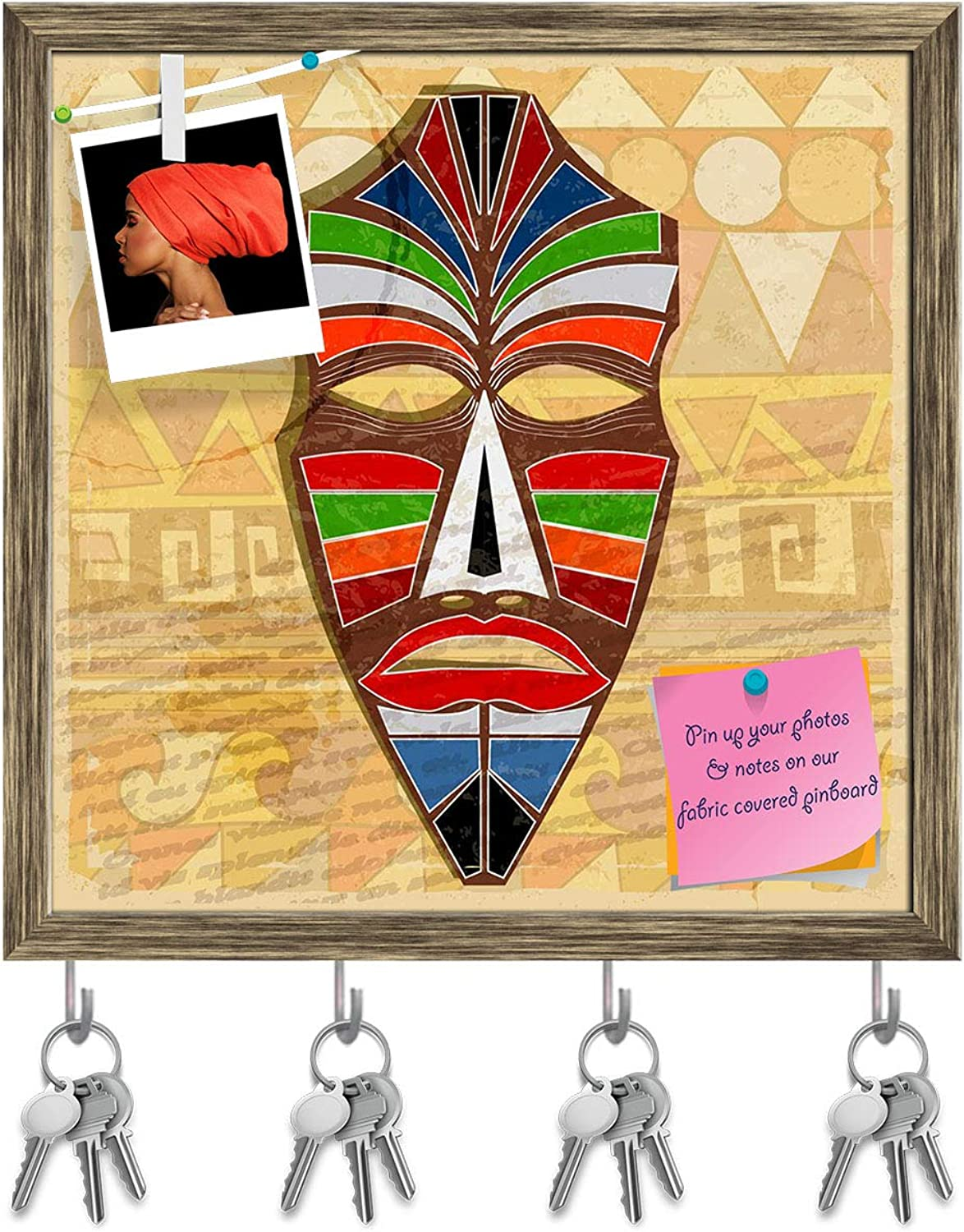 Artzfolio Ethnic Mask Key Holder Hooks   Notice Pin Board   Antique golden Frame 20 X 20Inch