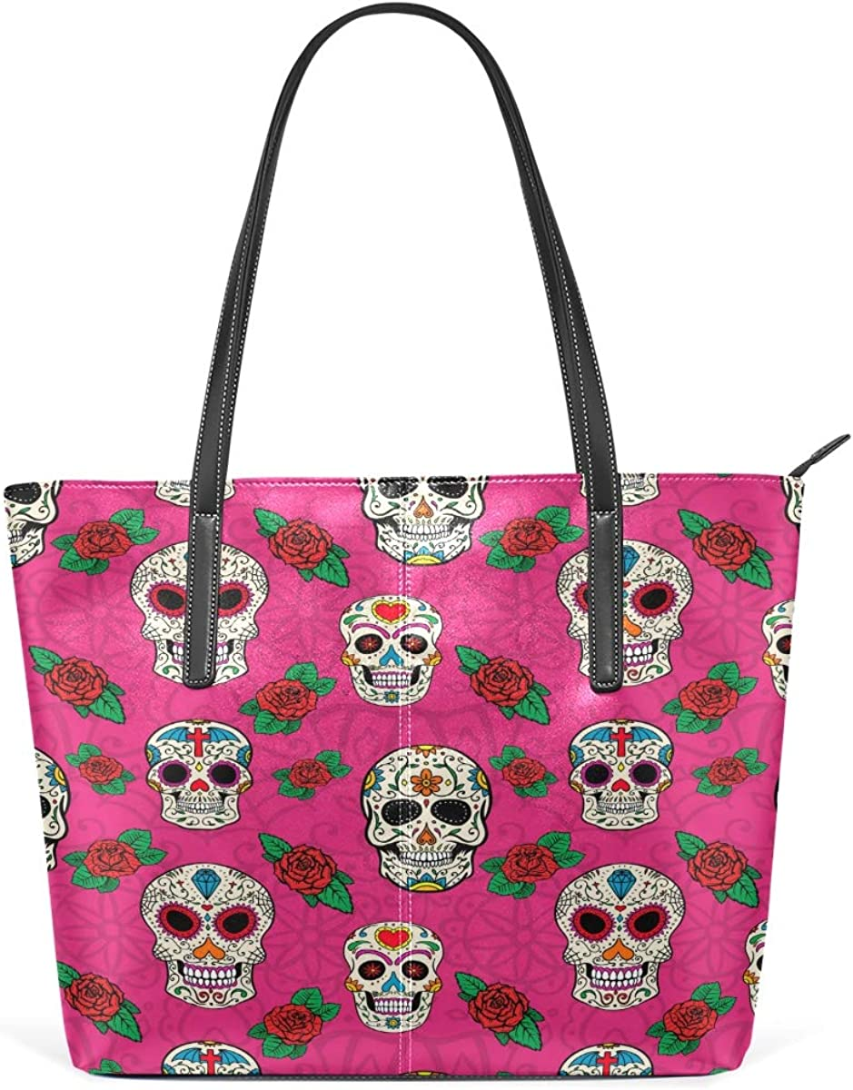 Colorful Skull Red Rose Factory outlet Leisure Fashion for Bargain sale Leather Handbag W PU