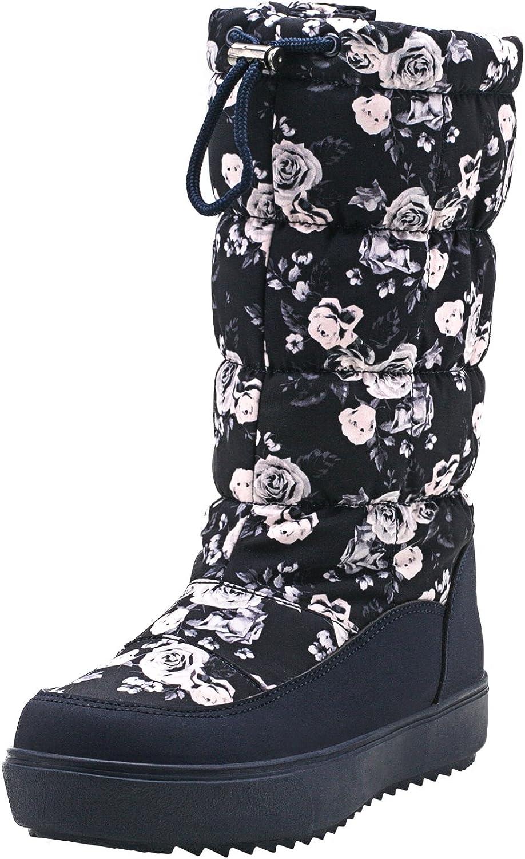 Shenda Women's Drawstring Nylon Fabric Snow Boots E7624