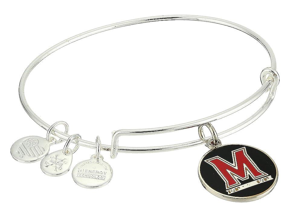 Alex and Ani Color Infusion University of Maryland Logo II Bangle (Shiny Silver) Bracelet