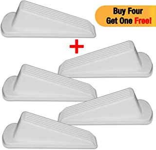 4Shopping Rubber Door Stopper, 4+1 Free, Premium Quality, Door Stop Wedge with Heavy Duty Design, Works ON Multiple Floor Surfaces, Flexible, Non-Scratching & Non-Slipping Door Stopper, (White)