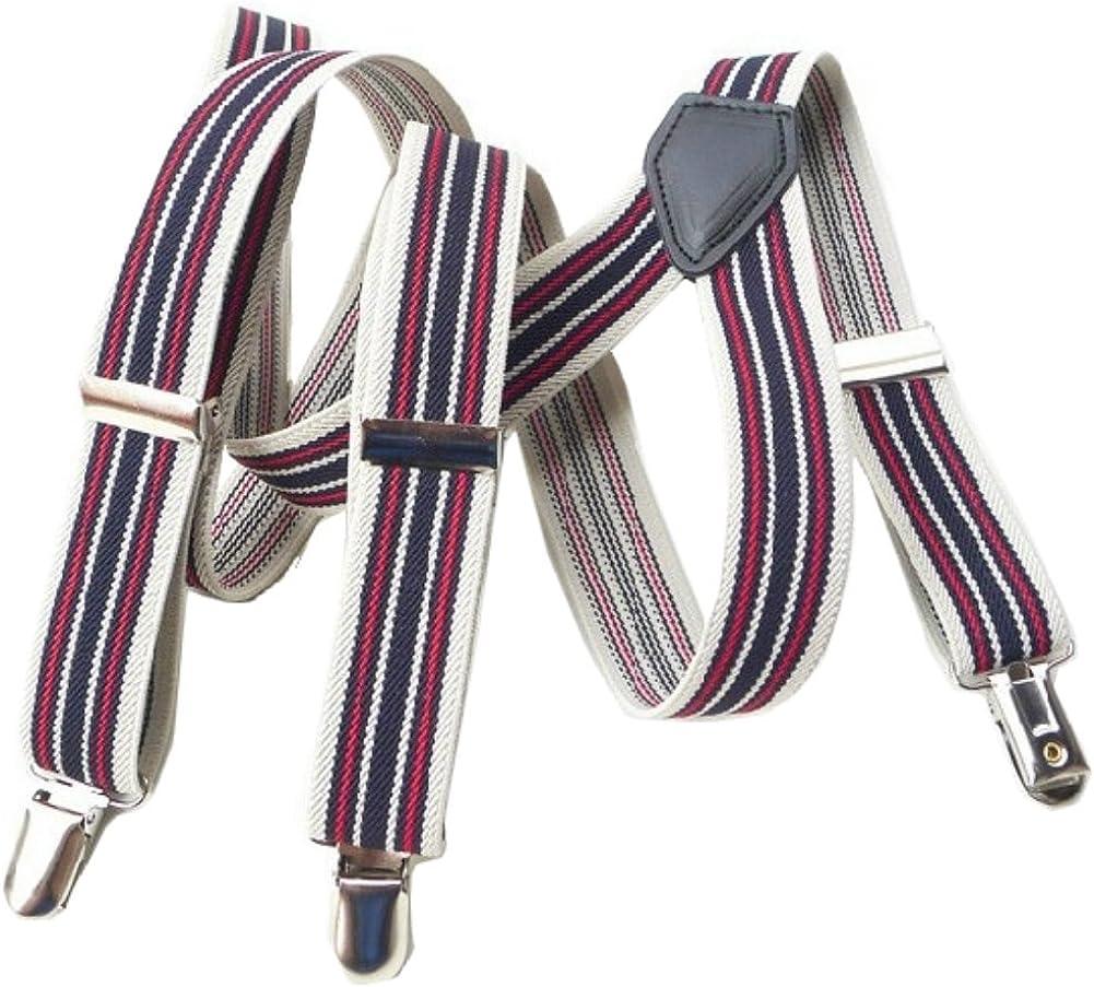 Leopard Print Suspenders Braces Adjustable 3 Clips Clip-on Width 0.98