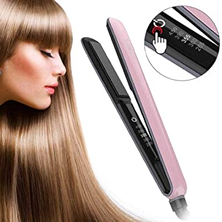 Hair straightener, Sumlife LED display Temperature adjustable 2 in 1 flat iron and curling with 1inch floating plates for smoothing, available for all types hairs, Pink color