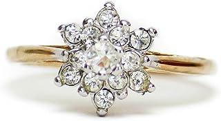 Providence 复古珠宝透明施华洛世奇水晶花纹饰戒指 18k 黄金电镀