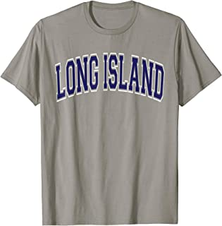 Long Island T Shirt - Varsity Style Navy Blue Text