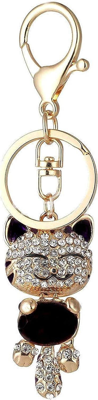 Cute Kitten Sparkling Keychain Bling Black Crystal Rhinestone Gold Key Chain for Women Girl