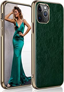 LOHASIC for iPhone 11 Pro Max Case, Slim Luxury Business PU Leather Cover Soft Shockproof Bumper Non-Slip Grip Protective Phone Cases Compatible with Apple iPhone 11 Pro Max 6.5 inch - Green