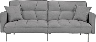 Divano Roma Furniture Collection - Modern Plush Tufted Linen Fabric Splitback Living Room Sleeper Futon (Light Grey)