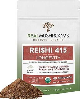 Real Mushroom Reishi Mushroom Powder for Longevity (45 Servings) Vegan, Organic, Non-GMO Reishi Extract, Reishi Mushroom S...