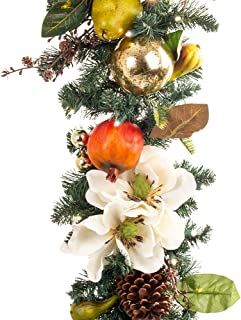 [9 Foot Artificial Christmas Garland] - Magnolia Orchard Collection - Pear and Pomegranate Decoration - Pre Lit with 100 Warm Clear LED Mini Lights - Includes Remote Controlled Battery Pack with Timer
