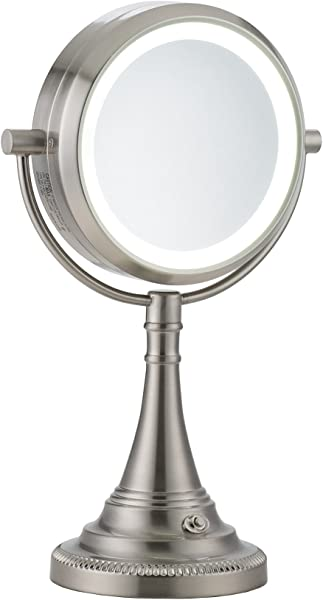 CO Z 10x Magnifying Makeup Mirror Elegant Vanity Magnifying Mirror With Light Modern Dual Sided Brushed Nickel Tabletop Face Lighted Mirror With 10x Magnification For Women S Dresser