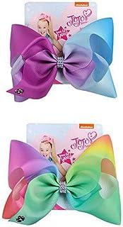 JoJo Siwa 2 Pack Ribbon Hair Bows Rainbow Design