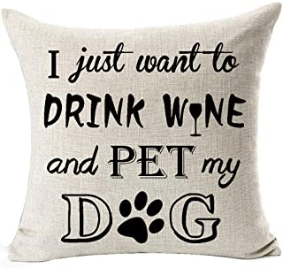 Best Dog Lover Gifts Nordic Sweet Funny Sayings I Just Want To Drink Wine And Pet My Dog Paw Prints Cotton Linen Throw Pil...