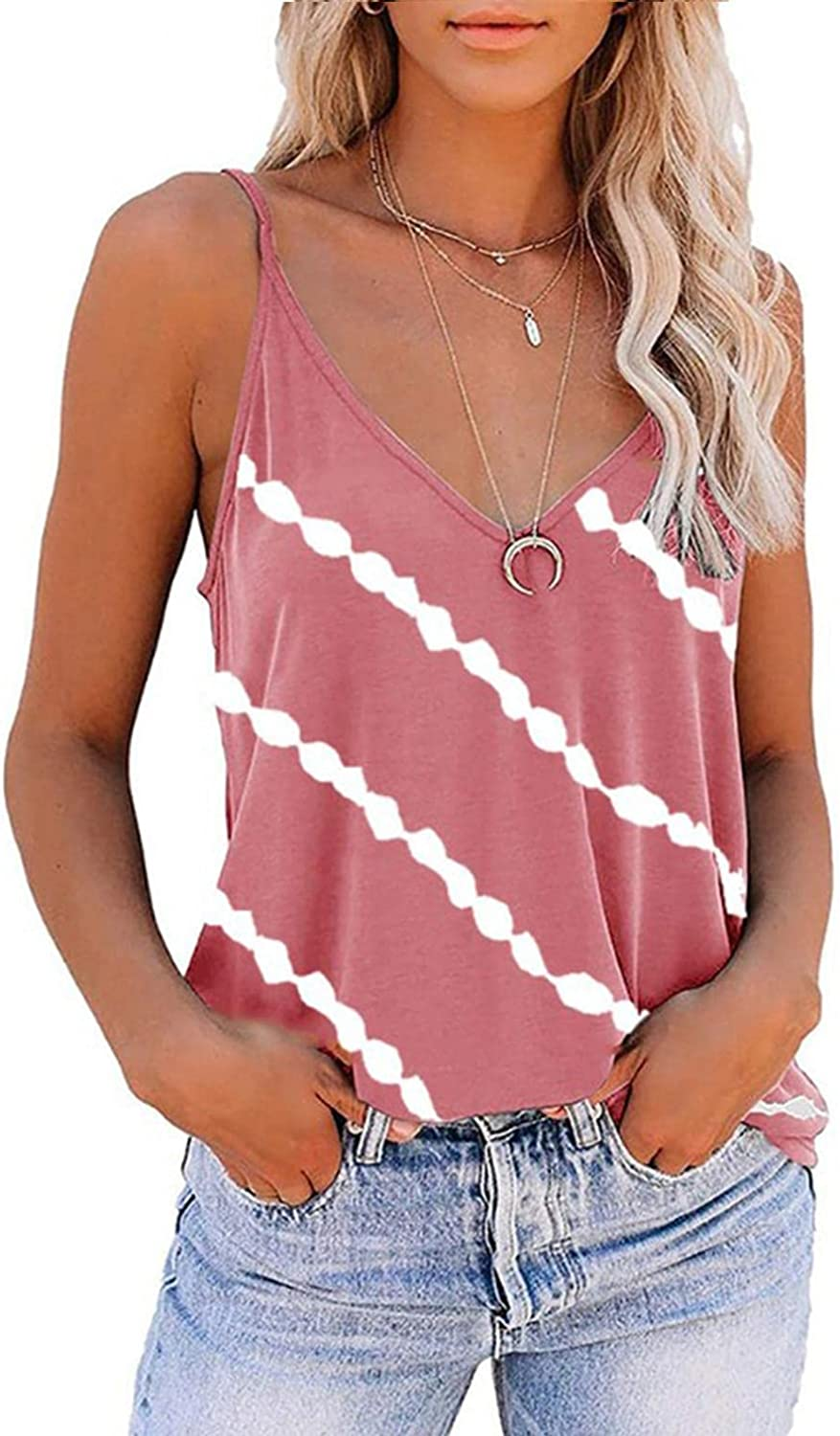Womens Tops Tops for Women Casual Summer Cotton,Womens Tank Tops V Neck Sleeveless Summer Shirts Loose Casual Tops