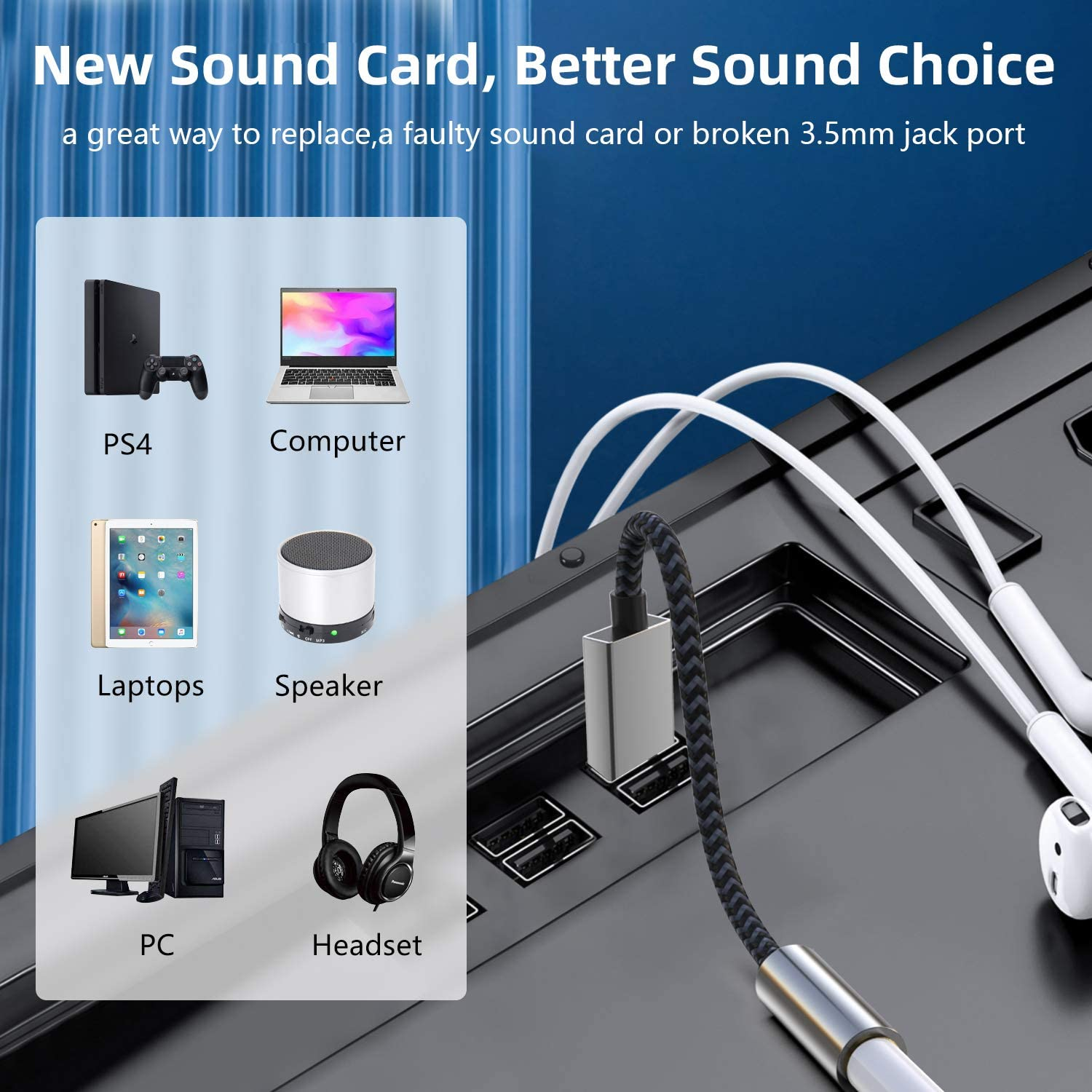 USB to Aux Cable, Morelecs USB to 3.5mm Male Cable, USB to Aux Cable with TRRS 4-Pole Mic-Supported USB to Headphone AUX Adapter Built-in Chip External Sound Card for PS4 PC and More -5FT