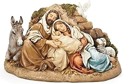 Restful Holy Family 9.5 Inch Resin Nativity Figurine