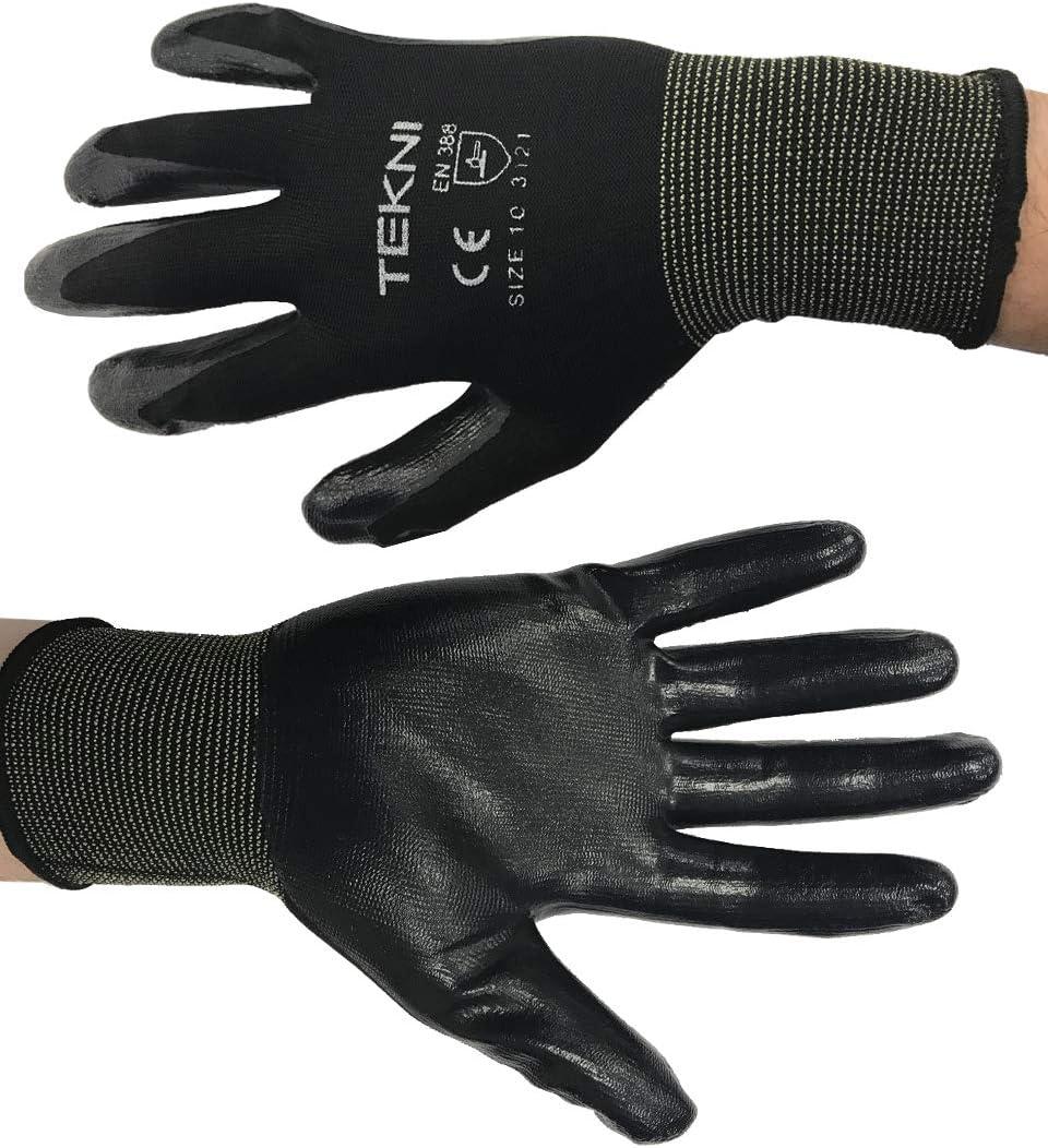 PES Gants de travail en nylon avec rev/êtement en caoutchouc nitrile Lot de 12/paires Small noir 7