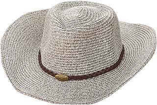 Adjustable 58CM,Beige JKLGNN Unisex Western Outback Cowboy Cowgirl Hat Adult Size Straw Hat Big Brim With Leather Band Shapeable Brim Fancy Dress Party