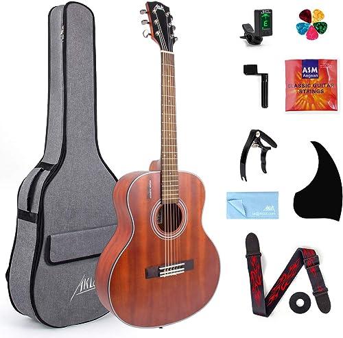 Guitarra acústica clásica AKLOT, guitarra acústica de viaje con ...
