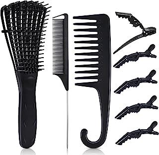 مجموعه برس 8PCS Ez Detangler ، MORGLES شانه دندان عریض Ez Detangler برس موهای فرفری با شانه دم موش 5PCS گیره مو تمساح قلم مو جدا کننده برای موهای فر طبیعی (مشکی)