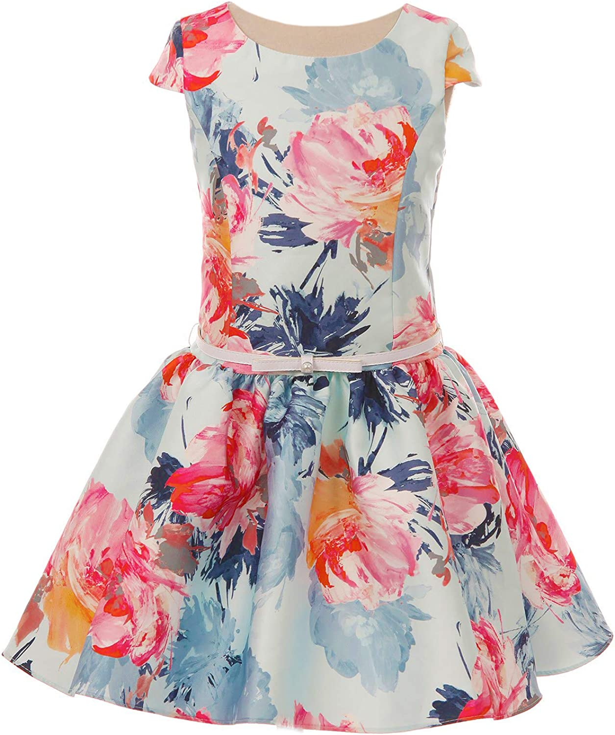 Dempsey Marie Girls Drop Waist Silhouette Vibrant Watercolor Floral Print Mikado Special Occasion Dress