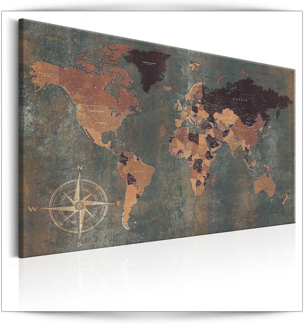 decomonkey Bilder Weltkarte 120×80 cm 1 Teilig Leinwandbilder Bild auf Leinwand Vlies Wandbild Kunstdruck Wanddeko Wand Wohnzimmer Wanddekoration…