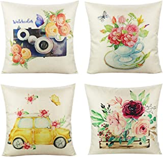 VAKADO Spring Cushion Covers Outdoor Flowers Butterfly Pillow Cushions Decorative Car Tea Cup Camera Cushion Cases Home De...