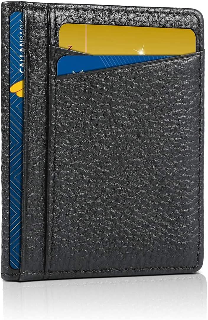 NDBWLL Slim Minimalist Wallet RFID Blocking Leather Thin Wallets for Men (black)