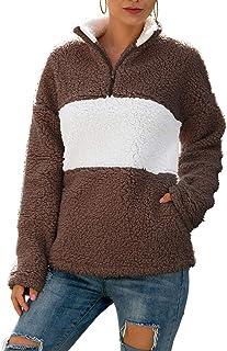 Choha Womens Long Sleeve Zip Sweatshirt Fleece Color Block Sherpa Pullover Outwear Coat with Pockets