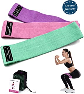 Resistance Bands, Exercise Bands for Legs and Butt, Non Slip Hip Workout Bands, Thick Fabric Booty Bands Set with 3 Resistance Loops for Women, Stretch Fitness Bands Multi Purposes for Glutes, Thighs
