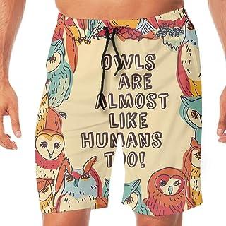 水着 メンズ 海パン サーフパンツ ビーチパンツ Birds Owls 水陸両用 通気速乾 スイムパンツ 短パン オシャレ 人気