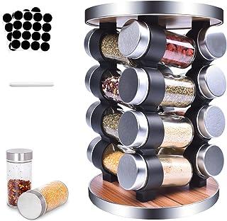 MUOIVG Présentoir à Épices -Avec 16 Pots Verre - Caroussel épices,Rotatif 360°,epices pots rangement ,Étagère à Épices Pou...