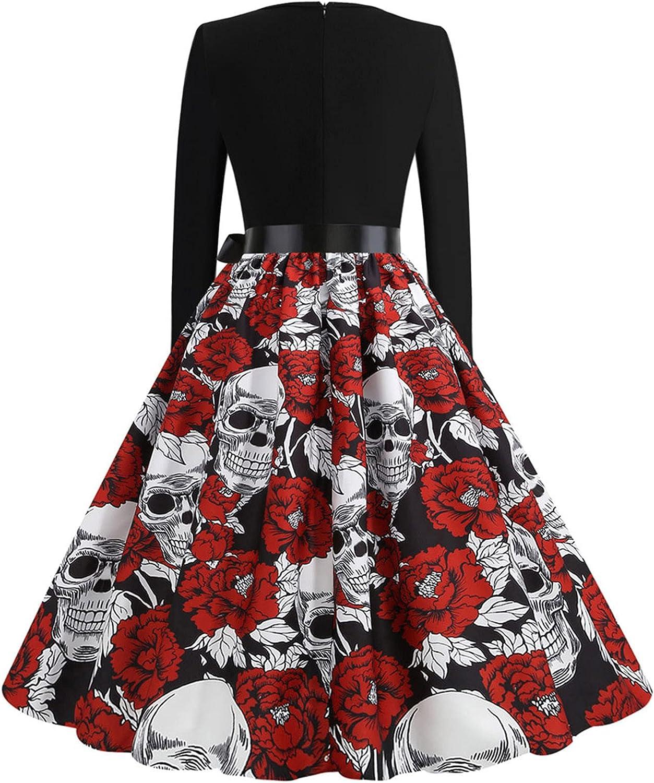 ORT Beach Dresses for Women Plus Size, Dresses for Women Casual Summer, Women's Casual Funny Skull Pumpkin Halloween Dress