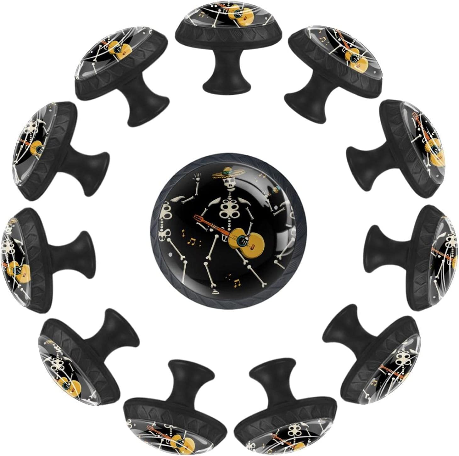 Skull Music Black 35MM Round Glass Cabinet Knobs Spring new work one Super sale after another Kitchen