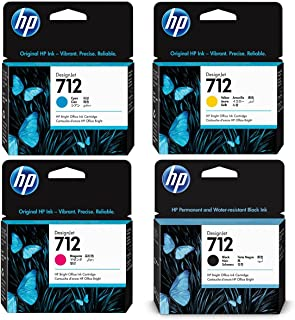 HP 712 29ml DesignJet Original Ink Cartridges for T650, T630, T230, T210 & Studio Plotter Printers - with 4 Items Cyan/Mag...