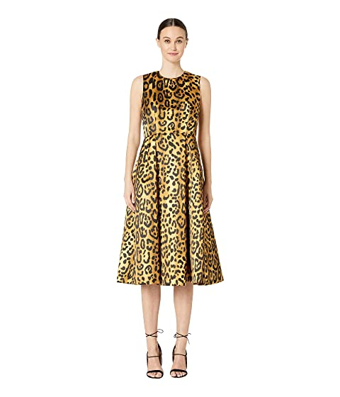 Adam Lippes Printed Duchess Satin Sleeve Crew Neck Fluted Dress