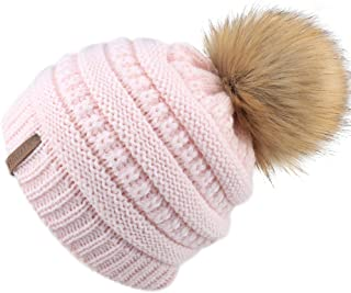 d4a0d392060 FURTALK Kids Girls Boys Winter Knit Beanie Hats Faux Fur Pom Pom Hat Bobble  Ski Cap