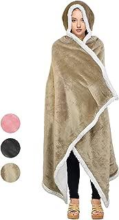 Tirrinia Sherpa Hooded Blanket Wearable Cuddle Throw Warm Cozy Sherpa Lining 47'x73'/ Sherpa Throw Blanket/