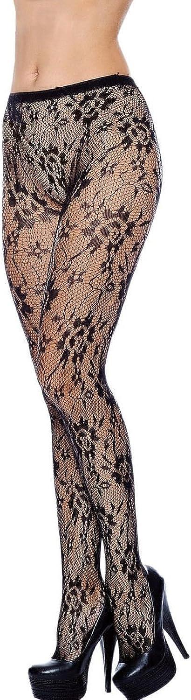 J.Ann Women's 1-Piece/Pack Black Fishnet Pantyhose with Design