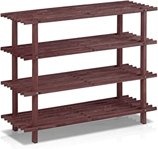 Furinno Pine Solid Wood 4-Tier Shoe Rack, Classic, Espresso