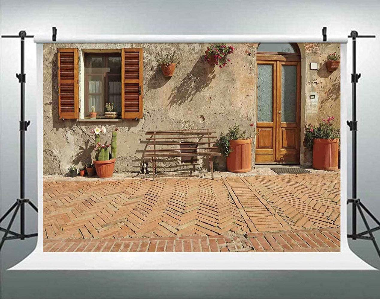 ALUONI 5x3ft Tuscan,Porch with Colorful Flowers at an Old Street in Town in Italy Photography Backdrop Photo Backdrops Portrait Background Studio Props AM032199
