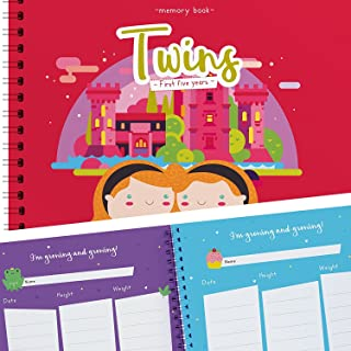 Girl Twins First 5 Years Memory Book - A Gorgeous Baby Keepsake Journal to Cherish Your Twin's First Five Years Forever - Includes Stickers, Family Tree, Holidays, Letters from Mom & Dad and More