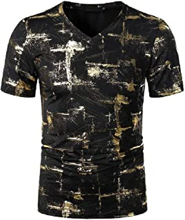 neveraway Men Nightclub Short-Sleeve Bronzing Relaxed Fashion Shirt Top