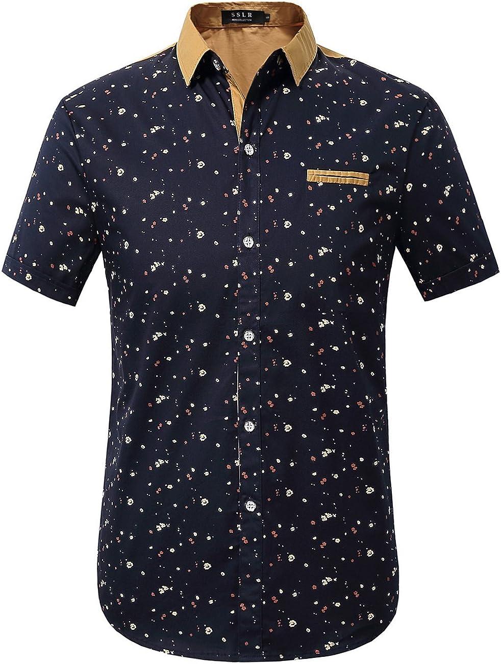SSLR Mens Casual Shirts Printed Cotton Short Sleeve Button Up Shirts for Men