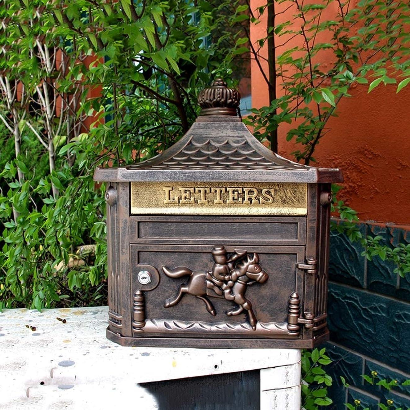 減る経営者霊屋外アンティーク壁掛けメールボックス、ヨーロッパスタイルのヴィラ、防水クリエイティブホームレターボックス、アンティーク銅色。 屋外セキュリティメールボックス
